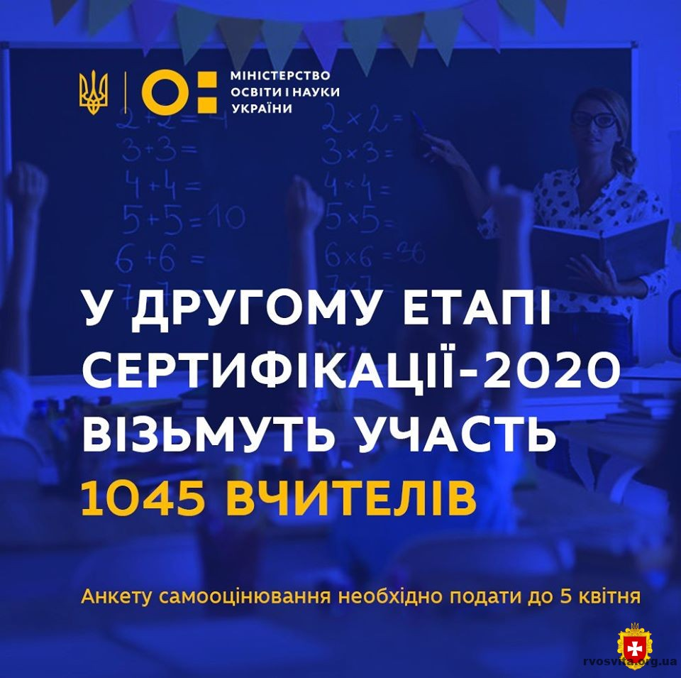 У другому етапі сертифікації-2020 візьмуть участь 1045 вчителів. Анкету необхідно подати до 5 квітня