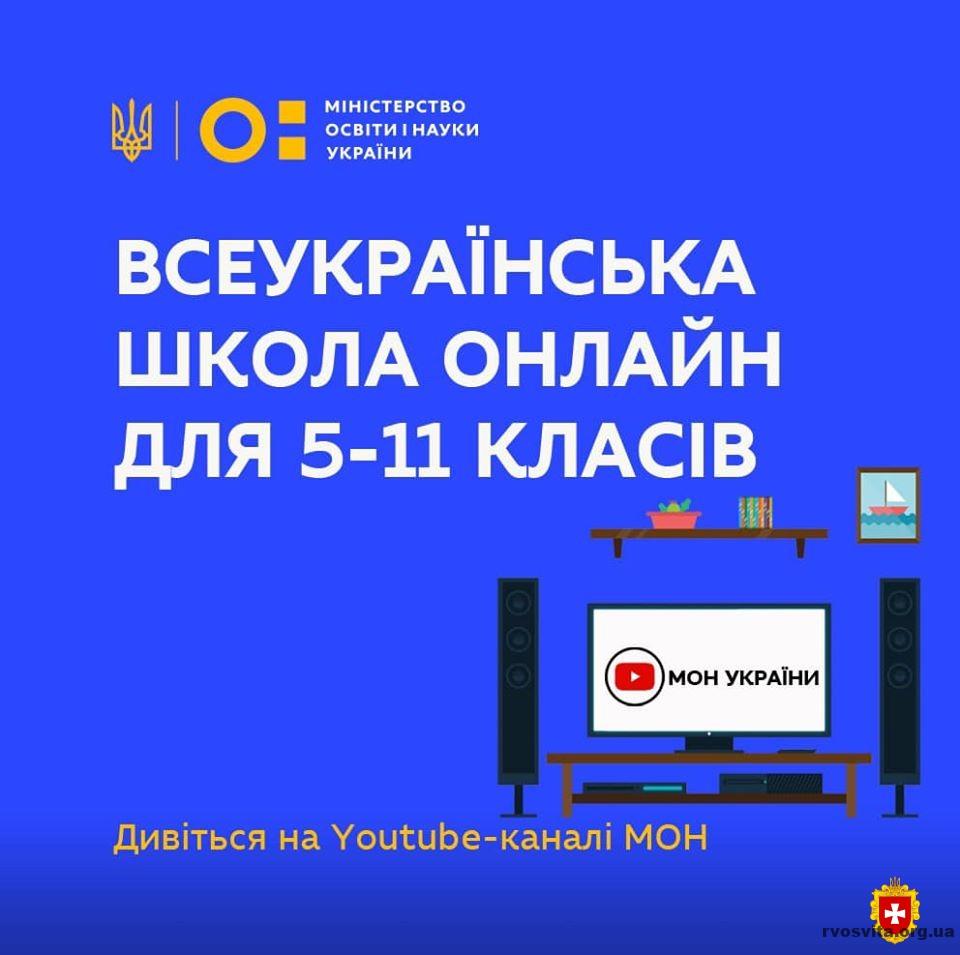 Розклад уроків і тем на тиждень Всеукраїнської школи онлайн