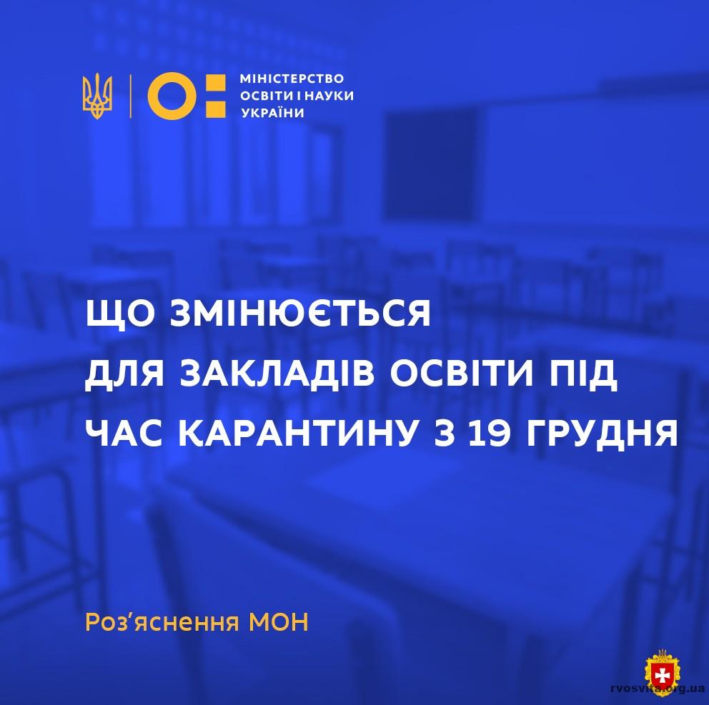Які зміни чекають заклади освіти під час карантину із 19 грудня?